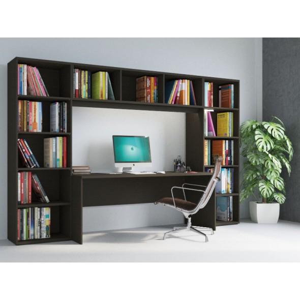 Knihovna INTEGRO policová vyšší, 835 x 1750 x 400 mm, 6 polic, třešeň