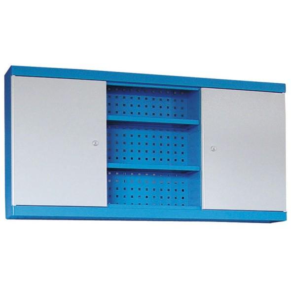 Kombinovaná závěsná skříňka do dílny GÜDE, 600 x 1600 x 200 mm, 2 dveře + perforovaný panel na nářadí, 6 polic, modrá