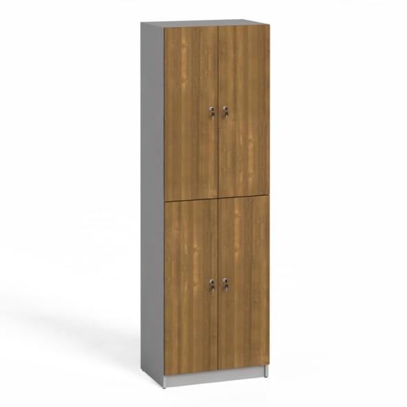 Dřevěná šatní skříňka, dveře ořech
