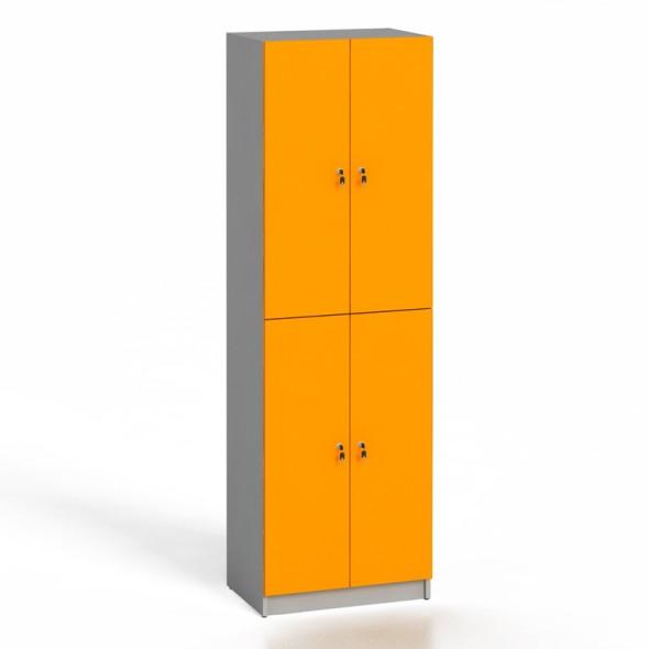 Dřevěná šatní skříňka, dveře oranžové