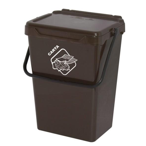 Plastový odpadkový koš, hnědý, 35 l