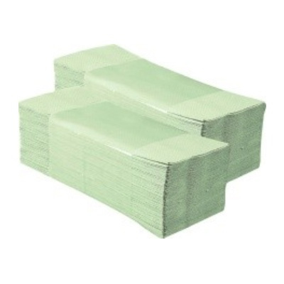 Skládané papírové ručníky, jednovrstvé, světle zelené