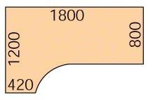 Ergonomický kancelářský pracovní stůl PRIMO, 180 x 120 cm, buk, levý