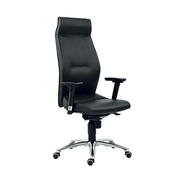 Kožené kancelářské křeslo MEGA, pravá kůže, černé