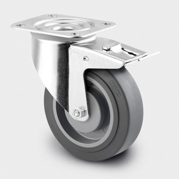 Přístrojové kolo s kuličkovými ložisky, otočné s brzdou, 100 mm
