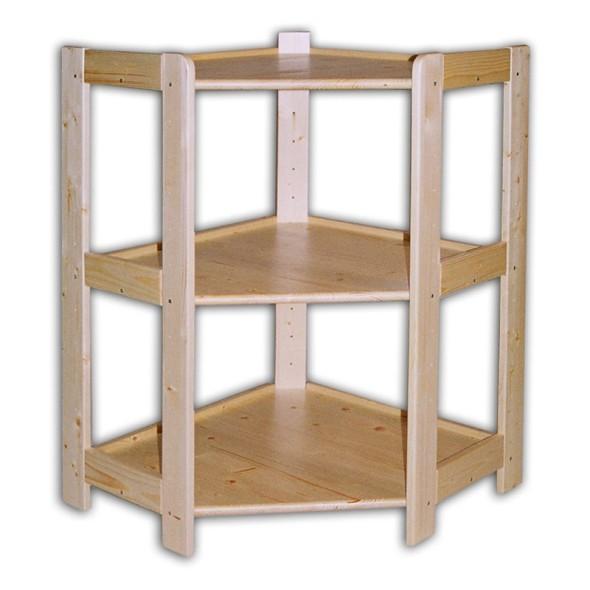 Rohový dřevěný regál 3 police, 890 x 600 x 335 mm