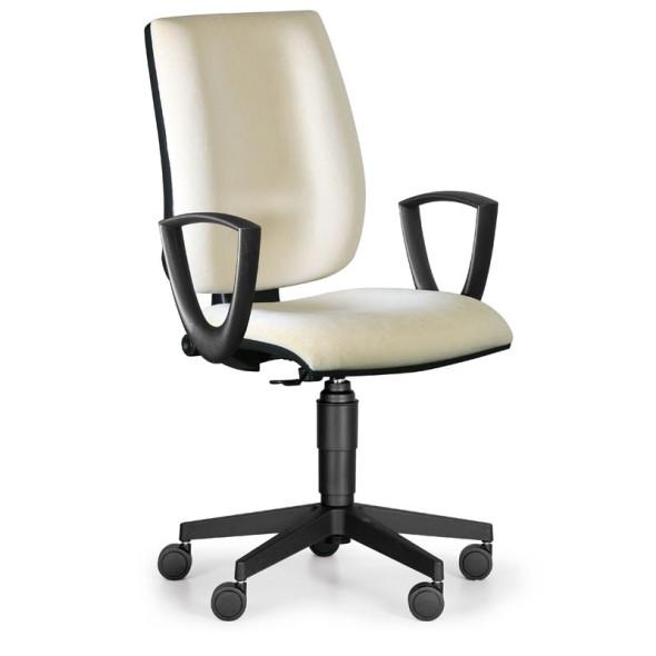 Kancelářská židle FIGO s područkami, permanentní kontakt, bílá