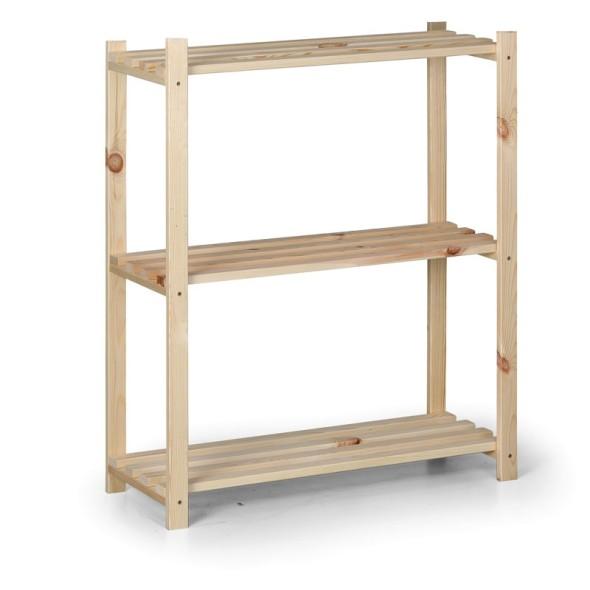 Dřevěný laťkový regál, 900 x 750 x 300 mm, 3 police