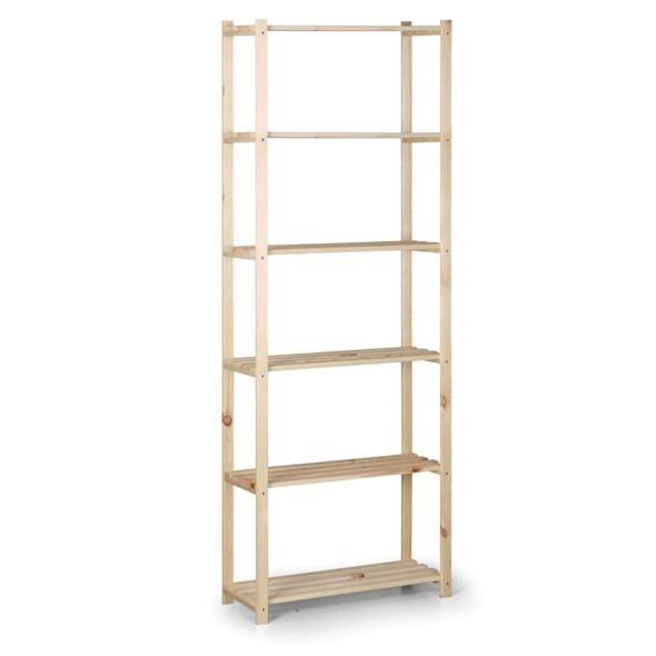 Dřevěný laťkový regál, 2100 x 750 x 400 mm, 6 polic