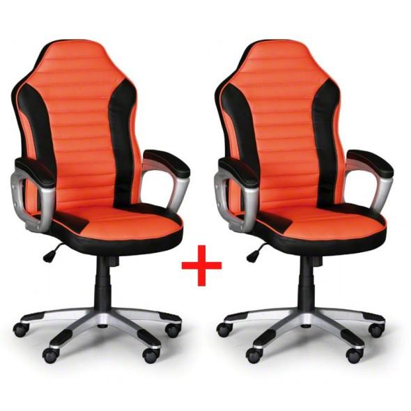 Kožené kancelářské křeslo SPORT, Akce 1+1 ZDARMA, černá/oranžová