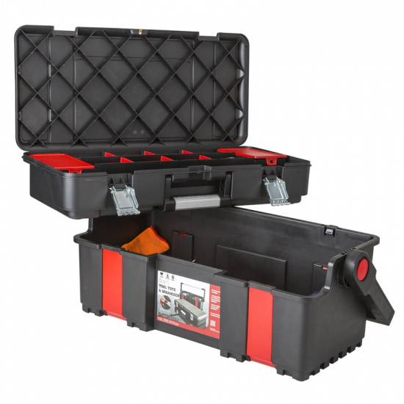 Plastový kufr na nářadí s nášlapným víkem