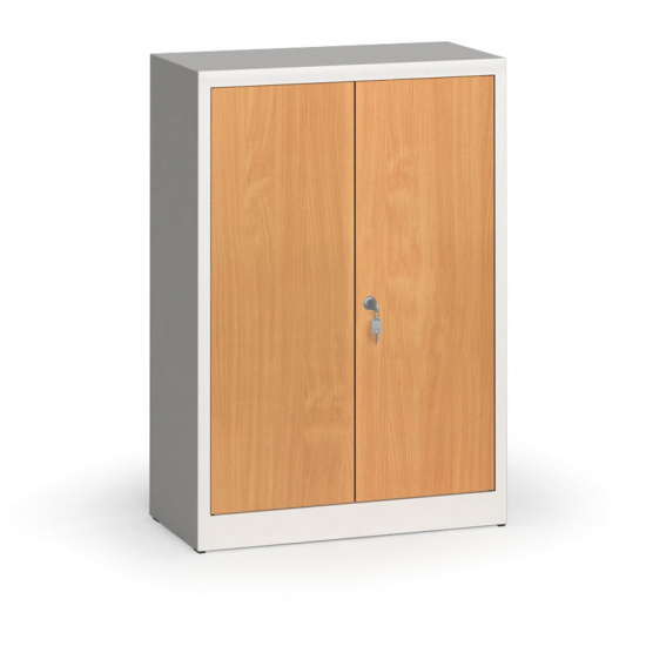 Svařované skříně s lamino dveřmi, 1150 x 800 x 400 mm, RAL 7035/buk
