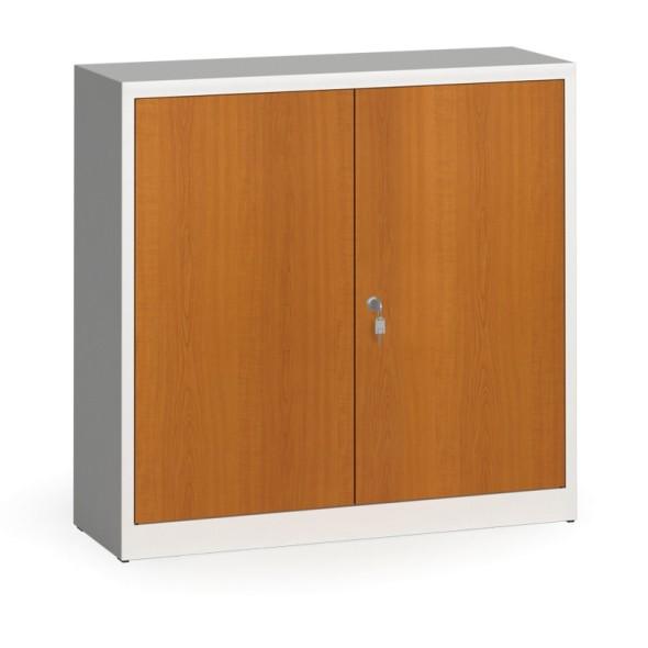 Svařované skříně s lamino dveřmi, 1150 x 1200 x 400 mm, RAL 7035/třešeň