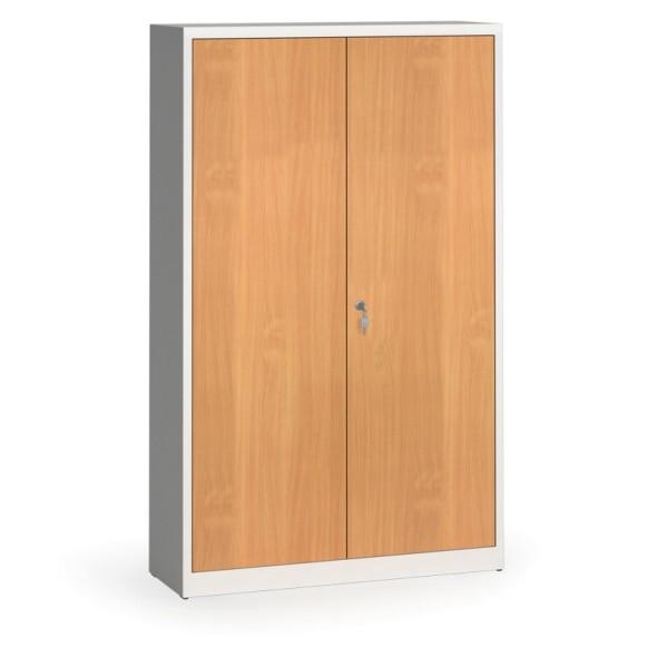 Svařované skříně s lamino dveřmi, 1950 x 1200 x 400 mm, RAL7035/buk