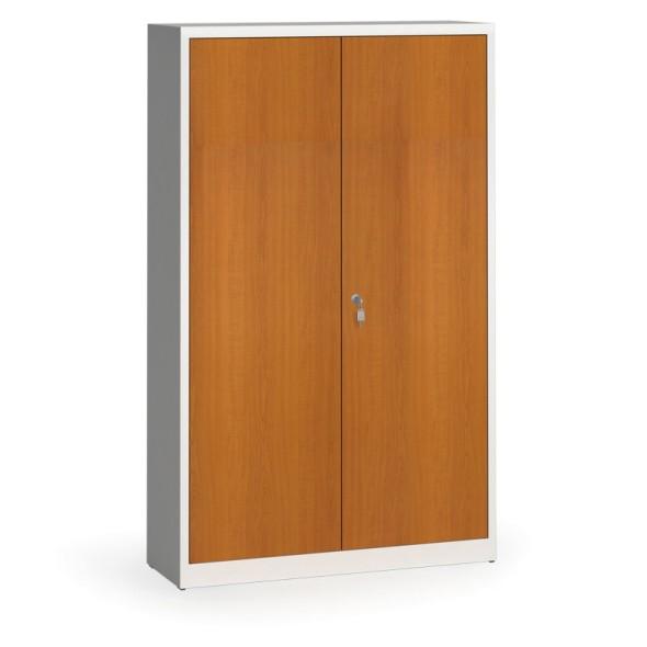 Svařované skříně s lamino dveřmi, 1950 x 1200 x 400 mm, RAL7035/třešeň