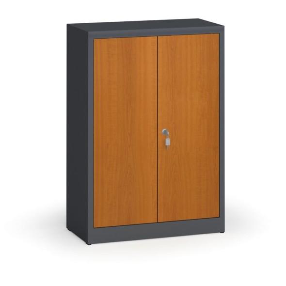 Svařované skříně s lamino dveřmi, 1150 x 800 x 400 mm, RAL 7016/třešeň