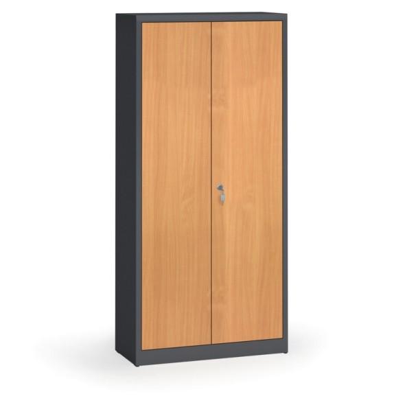 Svařované skříně s lamino dveřmi, 1950 x 920 x 400 mm, RAL 7016/buk