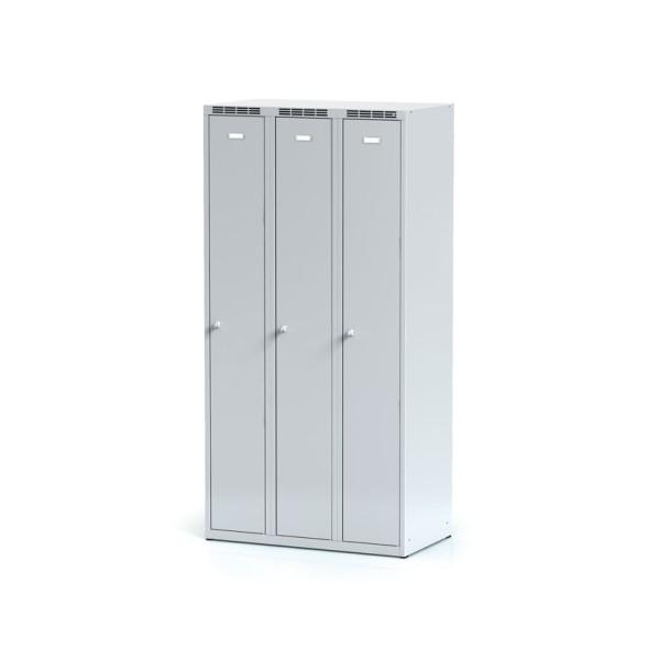 Kovová šatní skříňka 3-dílná, šedé dveře, otočný zámek