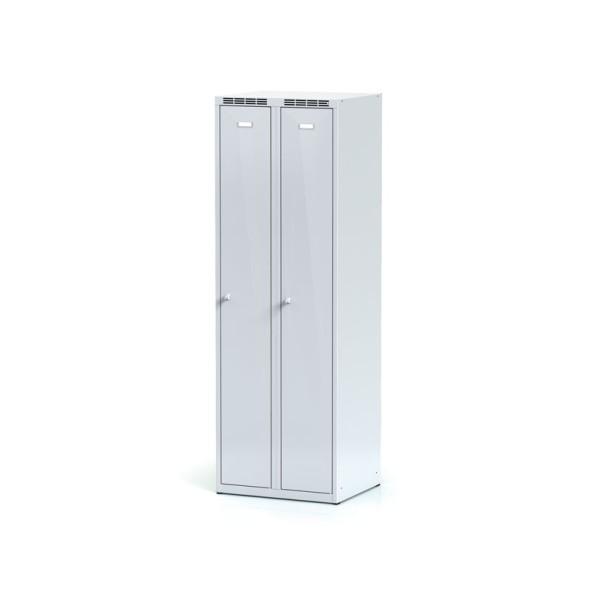 Kovová šatní skříňka, šedé dvouplášťové dveře, otočný zámek