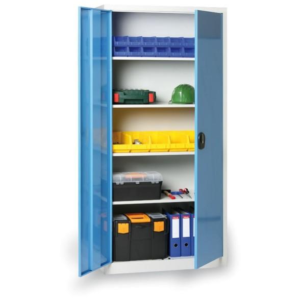 Plechová policová skříň, 1950 x 1200 x 400 mm, 4 police, šedá/modrá