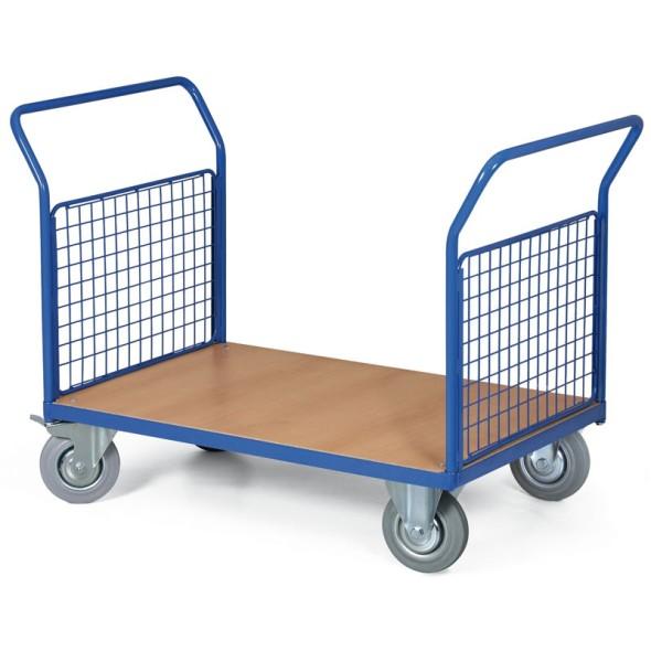 Plošinový vozík - 2 madla s drátěnou výplní, 1000x700 mm, 300 kg