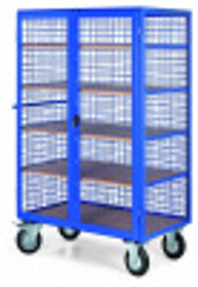 Uzamykatelný skříňový vozík s drátěnými stěnami, 5 polic