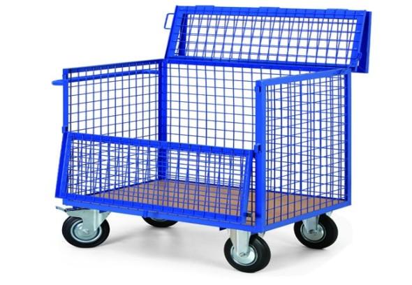 Plošinový vozík s drátěnými stěnami a uzavíratelným víkem