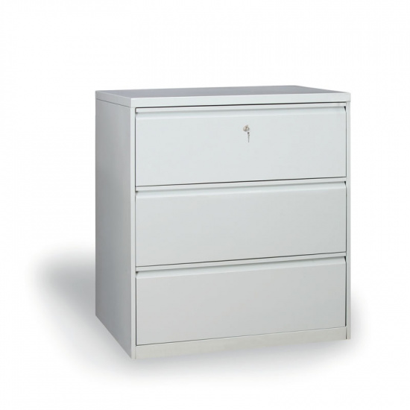 Dvouřadá kovová kartotéka A4, 3 zásuvky, šedá