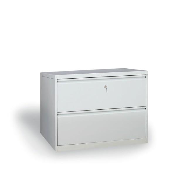 Dvouřadá kovová kartotéka A4, 2 zásuvky, šedá