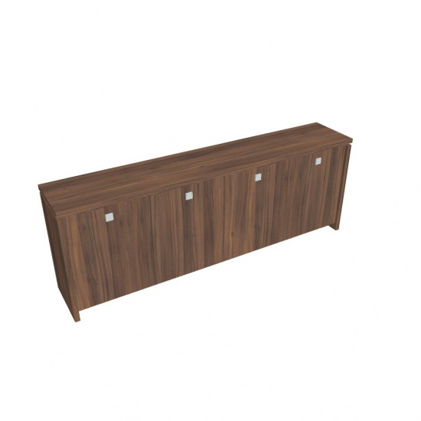 Čtyřdveřová kancelářská skříň ASSIST, 2480 x 460 x 900 mm, ořech