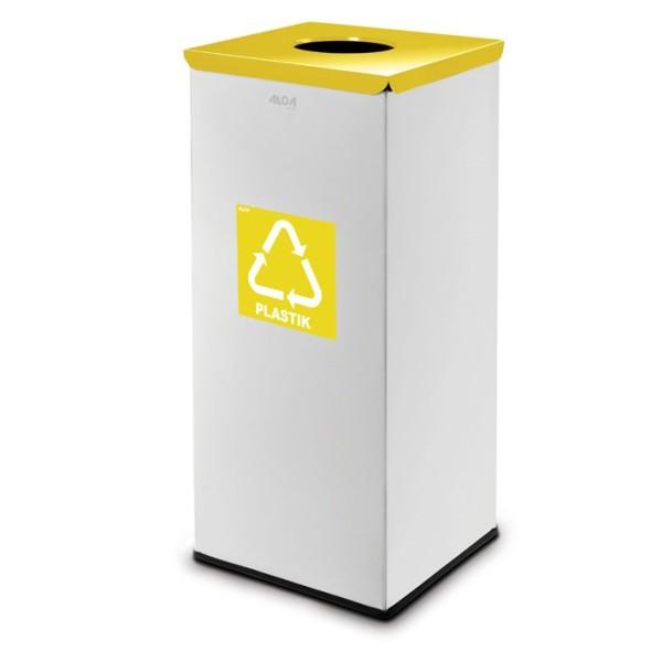 Koš na tříděný odpad 90 L, šedý/žlutý