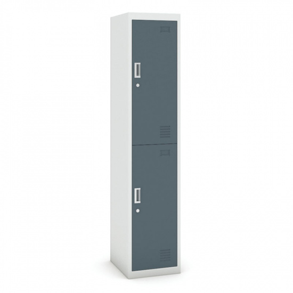 Skříňka dvoudveřová, 1800 x 380 x 450 mm, šedá/tmavěšedá, 1+1 ZDARMA