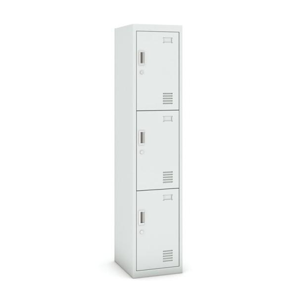 Skříňka trojdveřová, cylindrický zámek, 1800 x 380 x 450 mm, šedá/šedá, 1+1 ZDARMA
