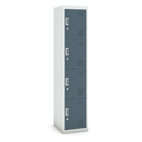 Skříňka čtyřdveřová, cylindrický zámek, 1800 x 380 x 450 mm, šedá/tmavěšedá, 1+1 ZDARMA