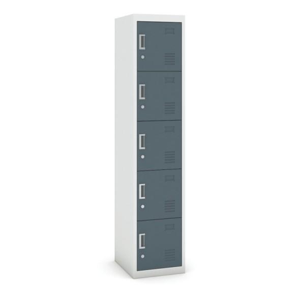 Pětidveřová skříňka, cylindrický zámek, 1800 x 380 x 450 mm, šedá/tmavěšedá, 1+1 ZDARMA