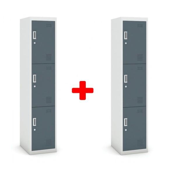 Skříňka trojdveřová, cylindrický zámek, 1800 x 380 x 450 mm, šedá/tmavěšedá, 1+1 ZDARMA
