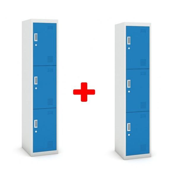 Skříňka trojdveřová, cylindrický zámek, 1800 x 380 x 450 mm, šedá/modrá, 1+1 ZDARMA