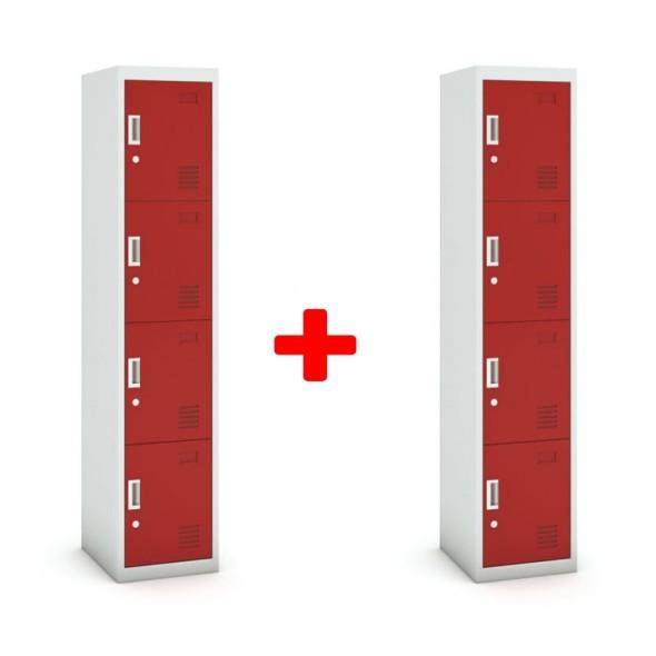 Skříňka čtyřdveřová, cylindrický zámek, 1800 x 380 x 450 mm, šedá/červená, 1+1 ZDARMA