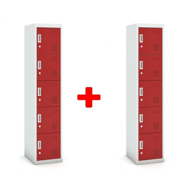 Pětidveřová skříňka, cylindrický zámek, 1800 x 380 x 450 mm, šedá/červená, 1+1 ZDARMA