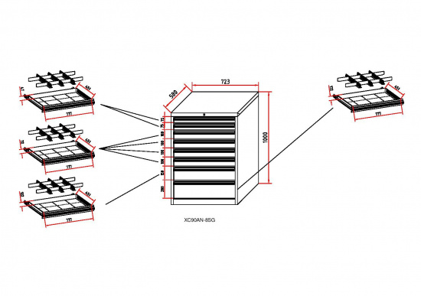Dílenská zásuvková skříň BL 1000, 8 zásuvek, šířka 723 mm