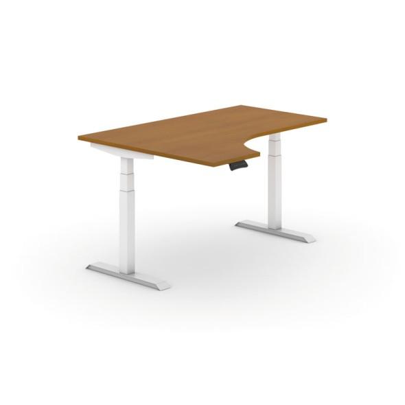 Výškově nastavitelný stůl, elektrický, 625-1275 mm, ergonomický levý, deska 1600x1200 mm, třešeň, bílá podnož