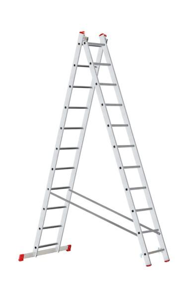 Hliníkový dvoudílný výsuvný víceúčelový žebřík HOBBY, 2x11 příček, 5,06 m