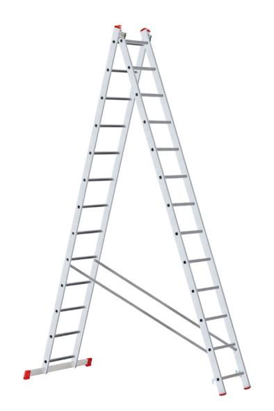 Hliníkový dvoudílný výsuvný víceúčelový žebřík, 2x13 příček