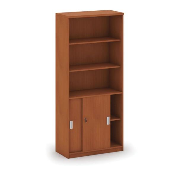 Kombinovaná kancelářská skříň MIRELLI A+, 800 x 400 x 1800 mm, třešeň
