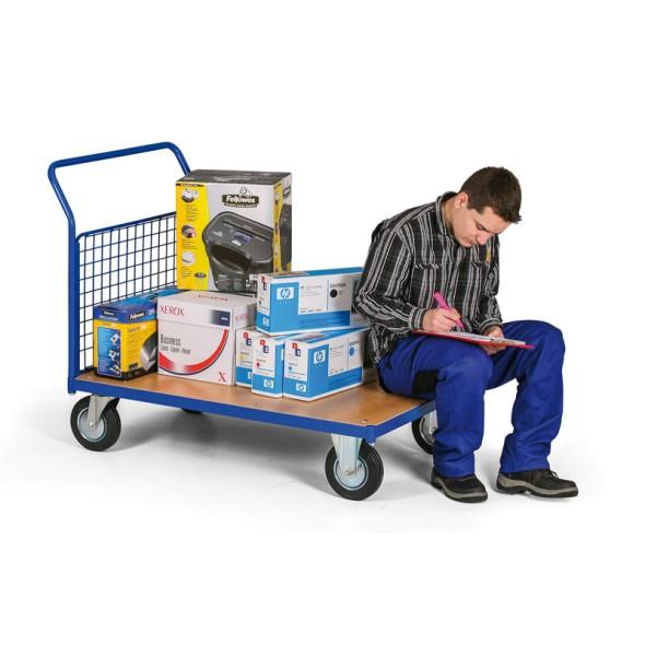 Plošinový vozík s drátěnou výplní madla, 750x500 mm, 200 kg