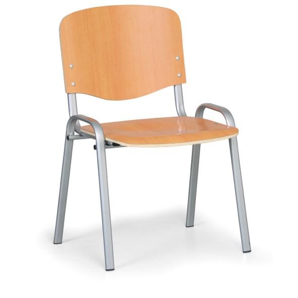 Dřevěná židle ISO, buk, konstrukce šedá, nosnost 120 kg, 3+1 ZDARMA