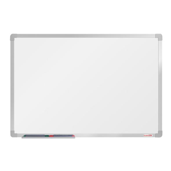 Bílá magnetická popisovací tabule boardOK, 90 x 60 cm, eloxovaný rám