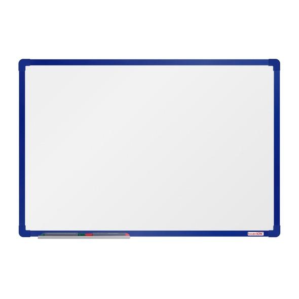 Bílá magnetická popisovací tabule boardOK, 60x90 cm, modrý rám