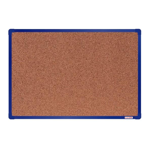 Korková nástěnka boardOK v hliníkovém rámu, 60x90 cm, modrý rám