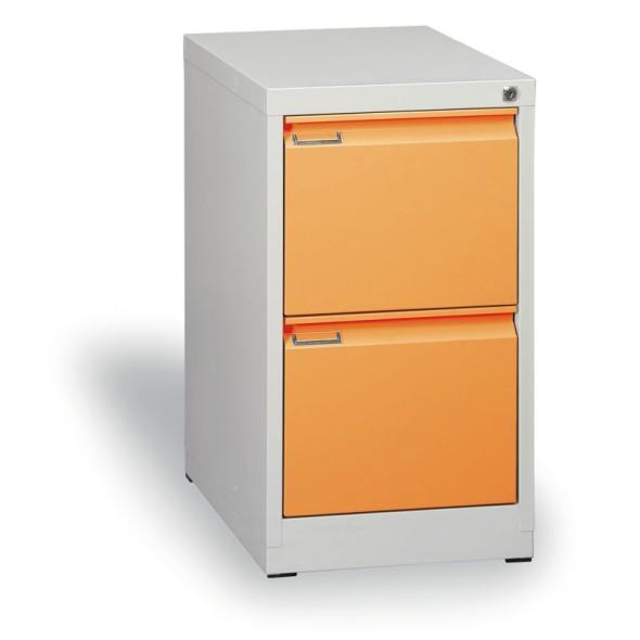 Kovová kartotéka A4, 2 zásuvky, oranžová
